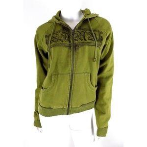 L.A.M.B. Olive Green Hoodie Sweatshirt Distressed
